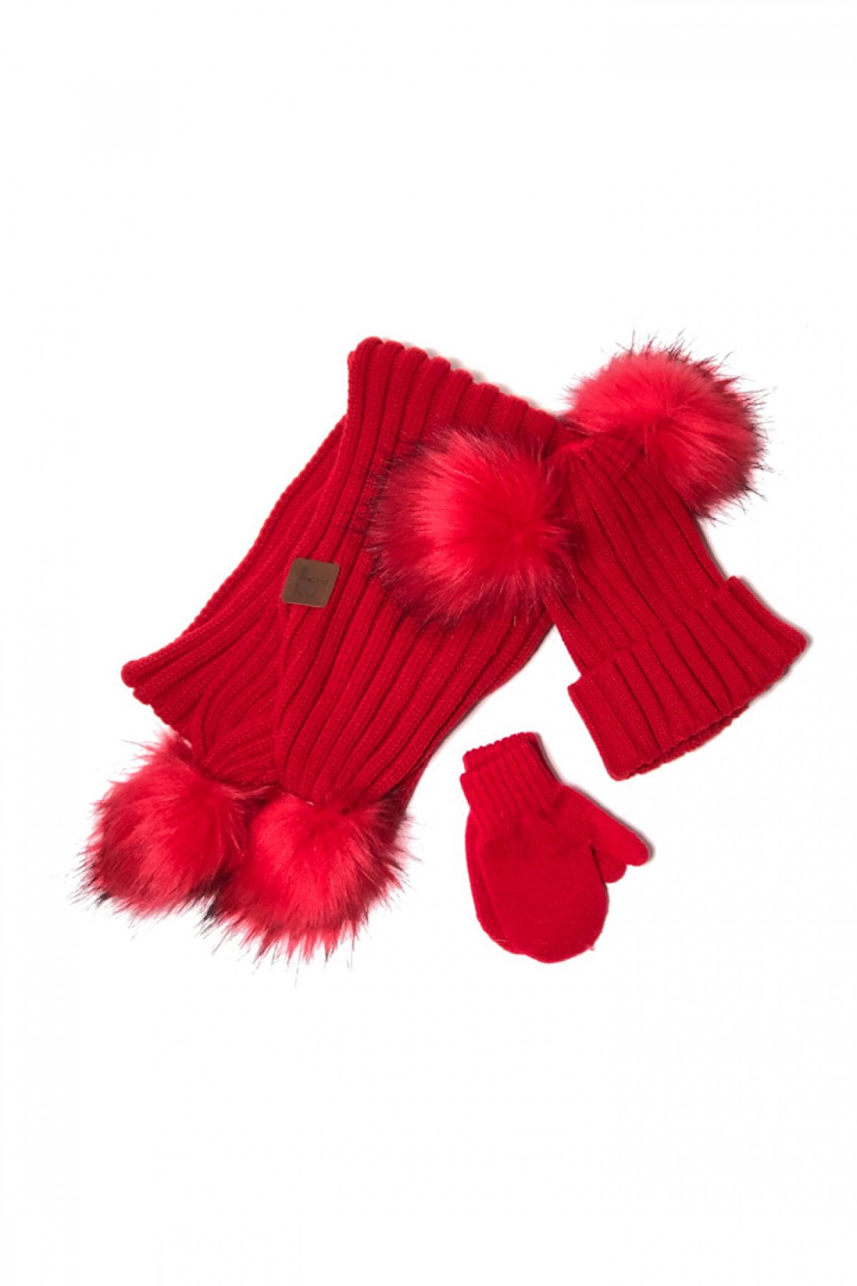 Kırmızı Ponponlu Kırmızı Atkı & Bere & Eldiven Takım