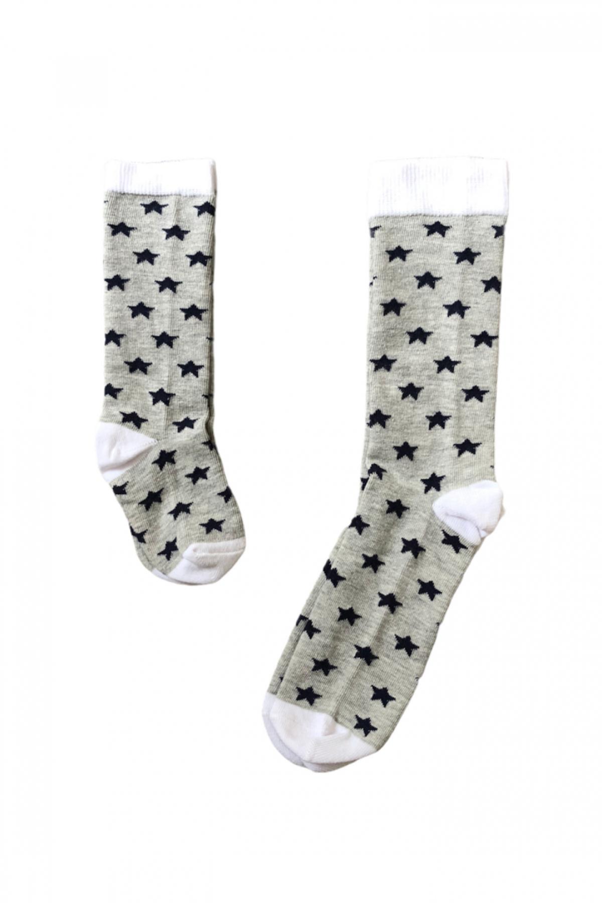 Gri Yıldız Desenli Anne Çocuk Çorap