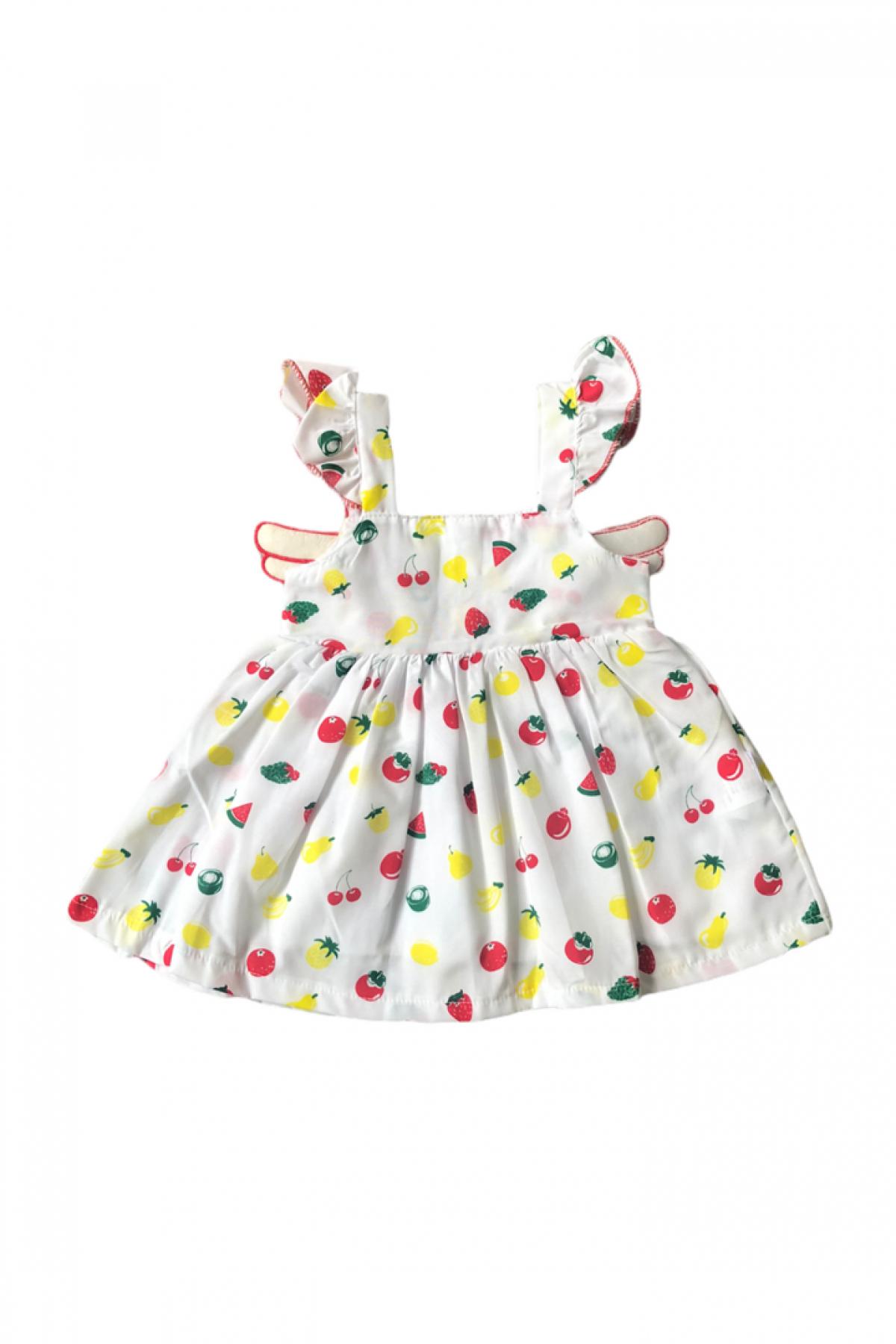 Melek Kanat Karışık Meyve Desenli Kız Çocuk Elbise
