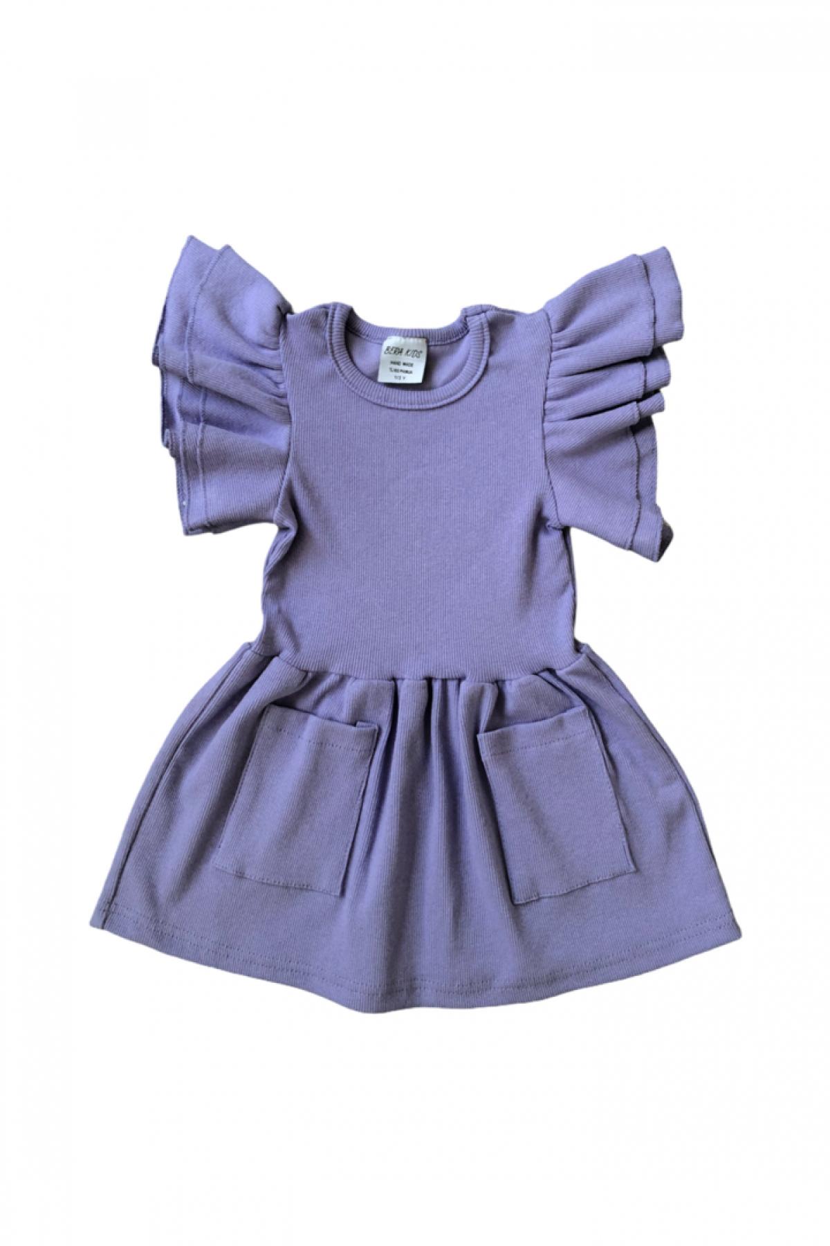 Lila Fırfır Kol Detaylı Kaşkorse Elbise