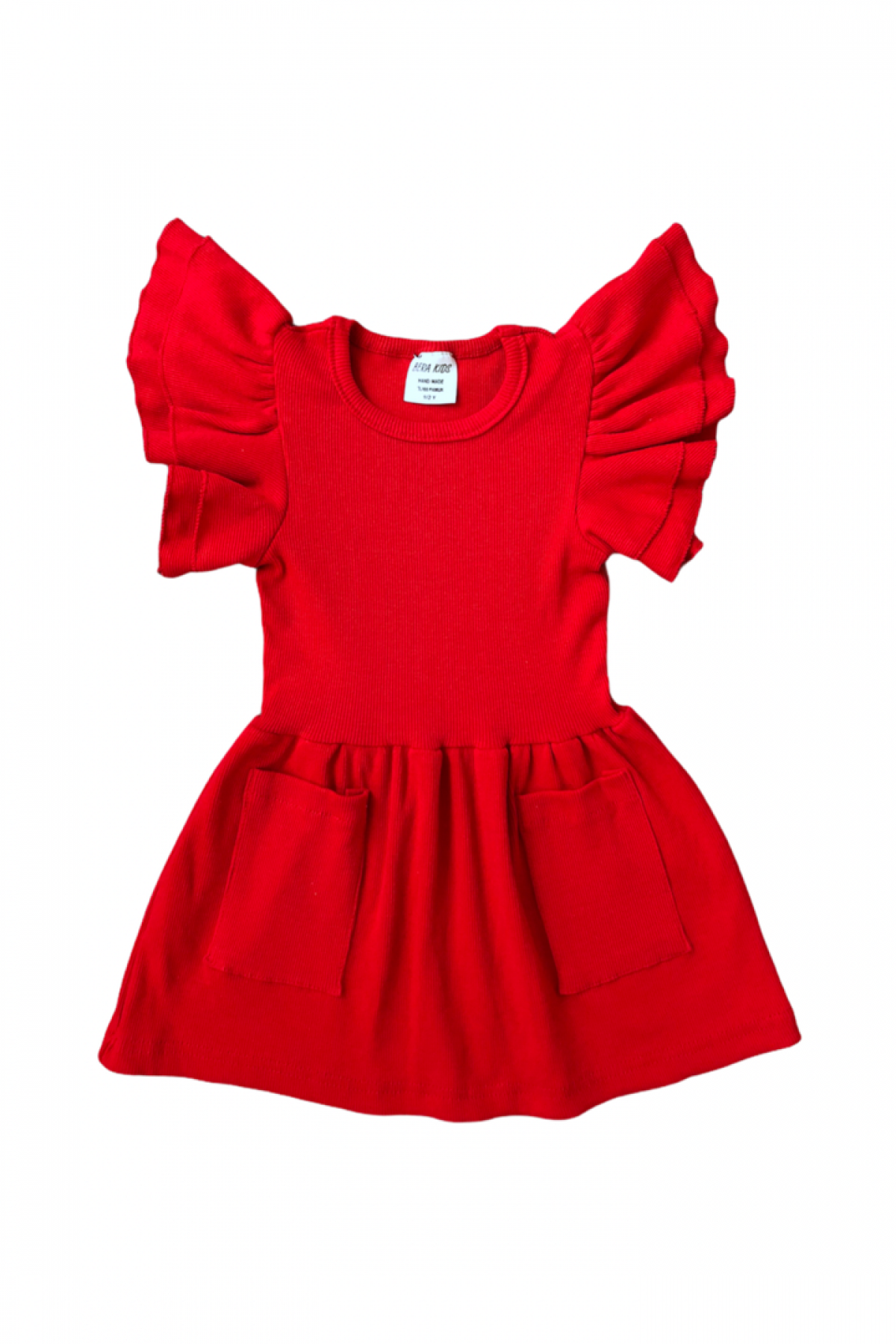Kırmızı Fırfır Kol Detaylı Kaşkorse Elbise