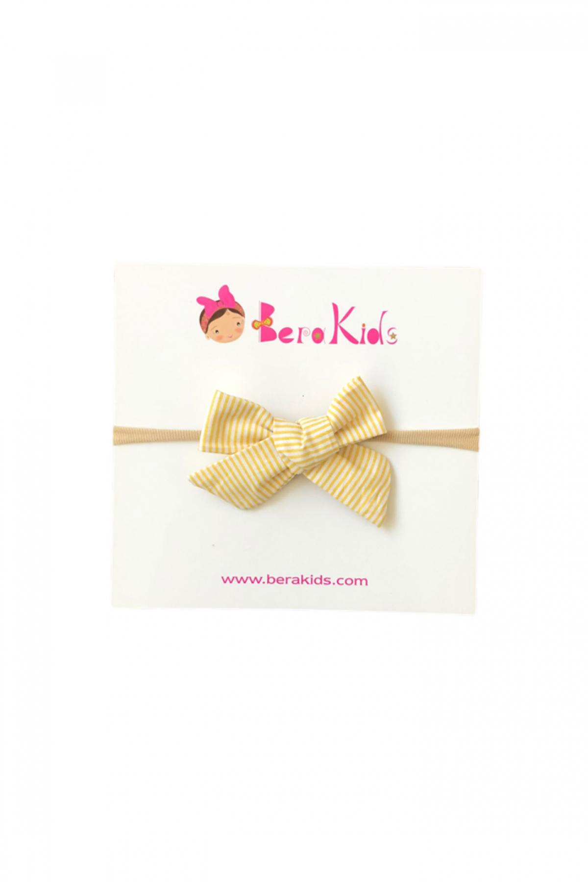 Mini Kurdele Çizğili Sarı Saç Bandı