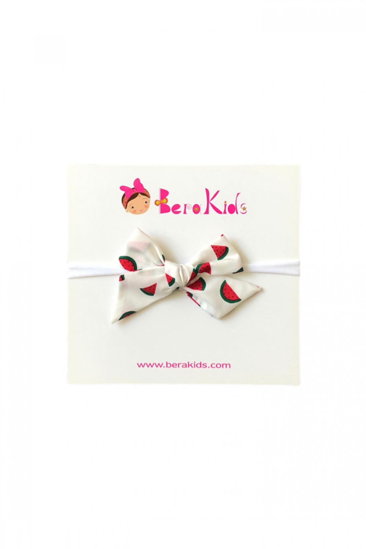 Mini Kurdele Karpuz Desenli Beyaz Saç Bandı