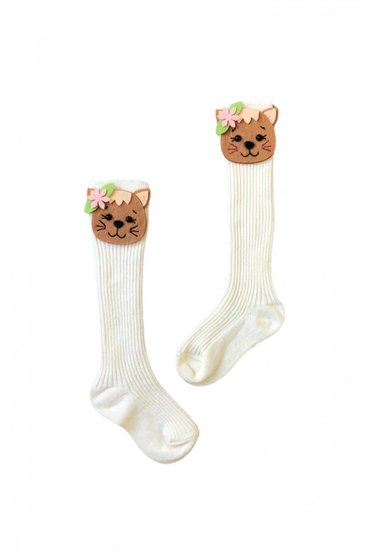 Ayıcık Fiğürlü Krem Çocuk Çorap