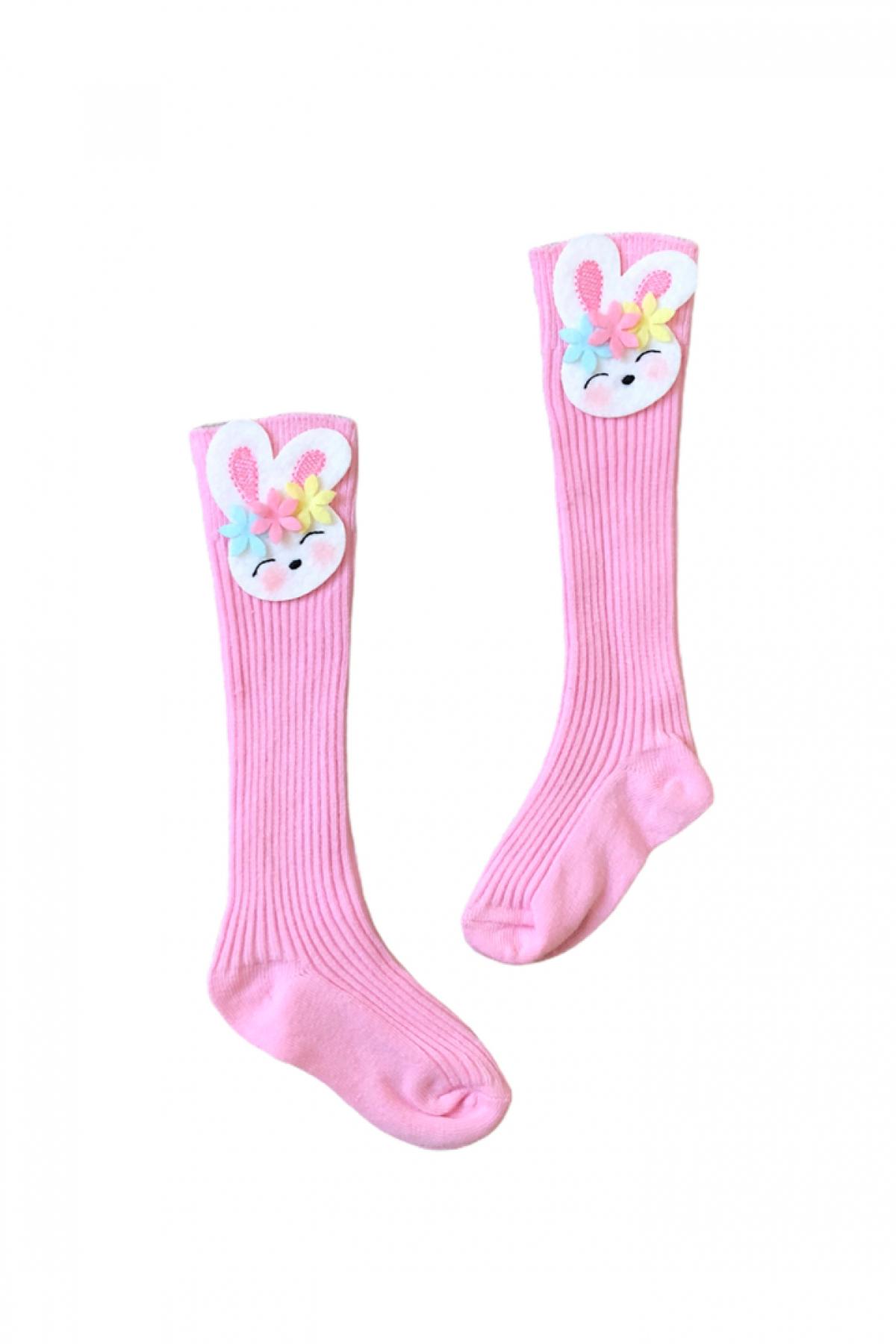 Tavşan Fiğürlü Pembe Çocuk Çorap