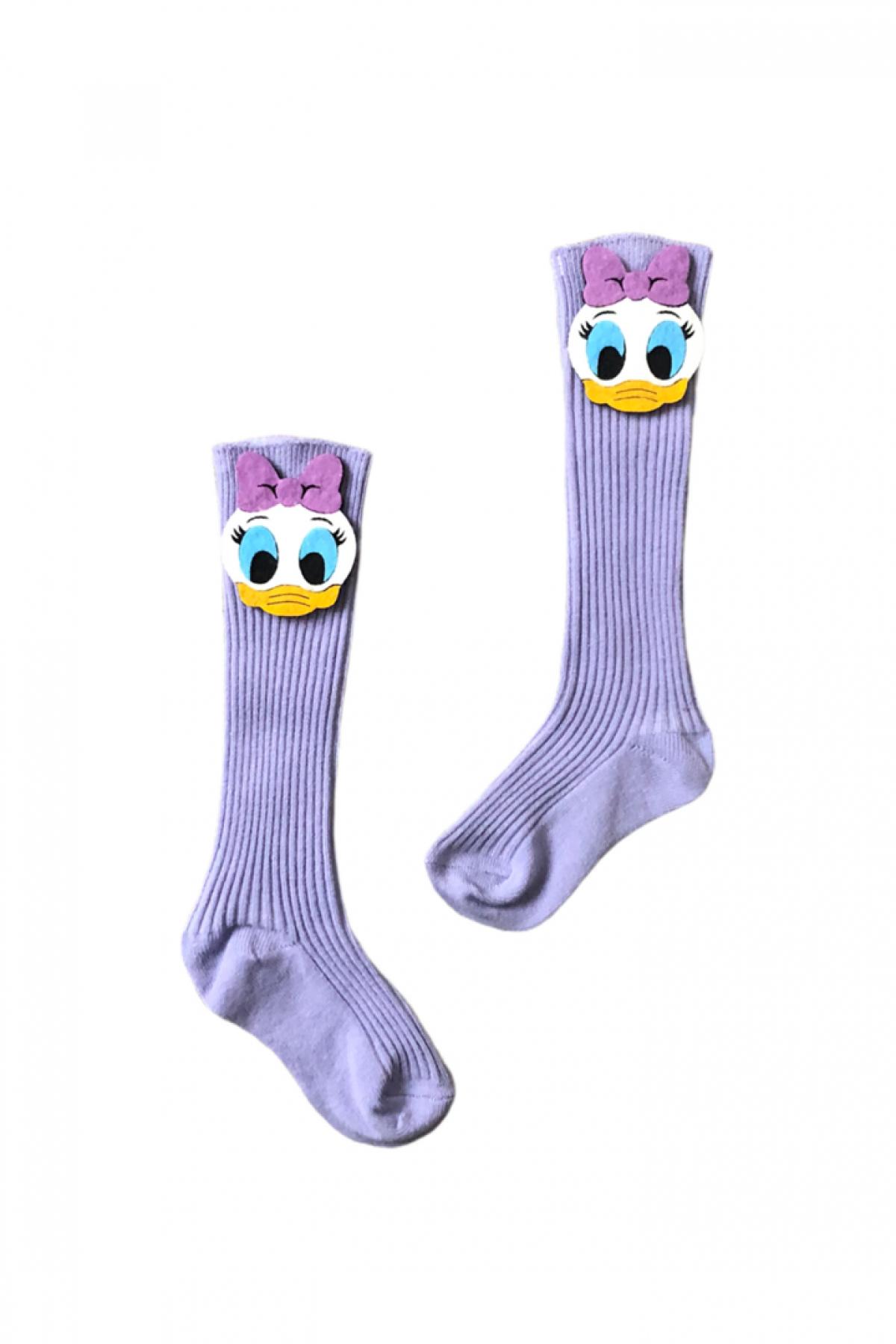 Ördek Fiğürlü Lila Çocuk Çorap