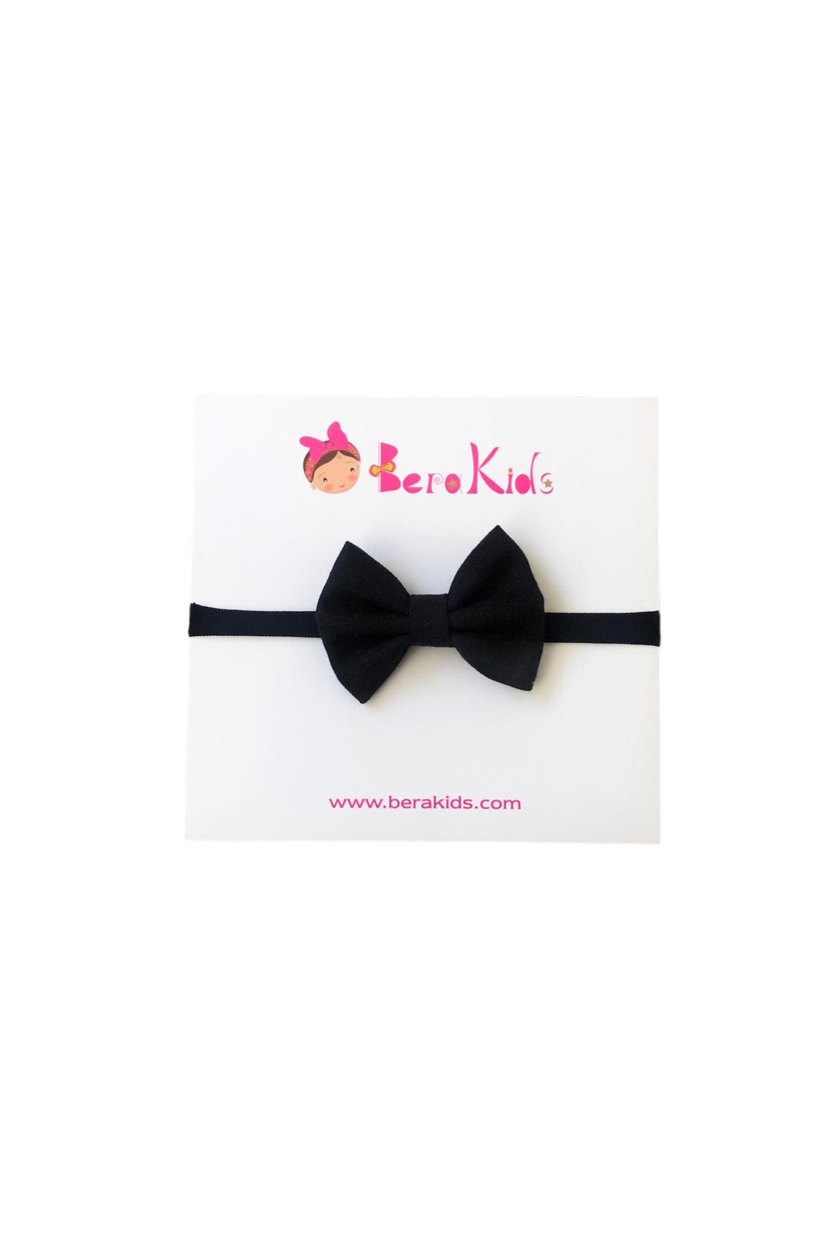 Mini Fiyonk Siyah Çocuk Saç Bandı