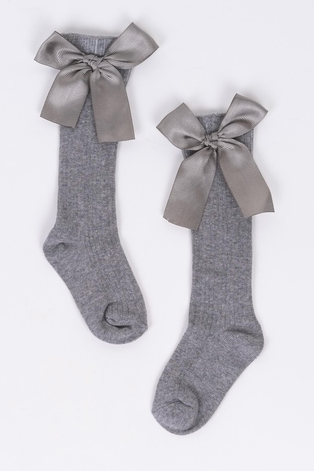 Fiyonklu Gri Çocuk Çorap
