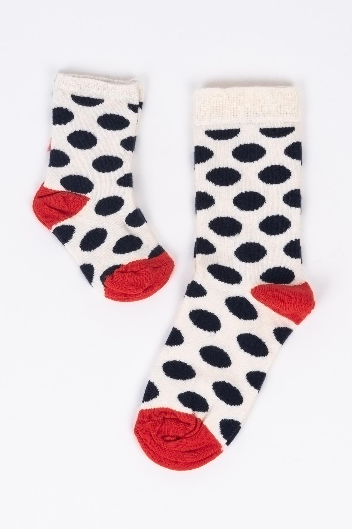 Beyaz Daire Desenli Anne Çocuk Çorap