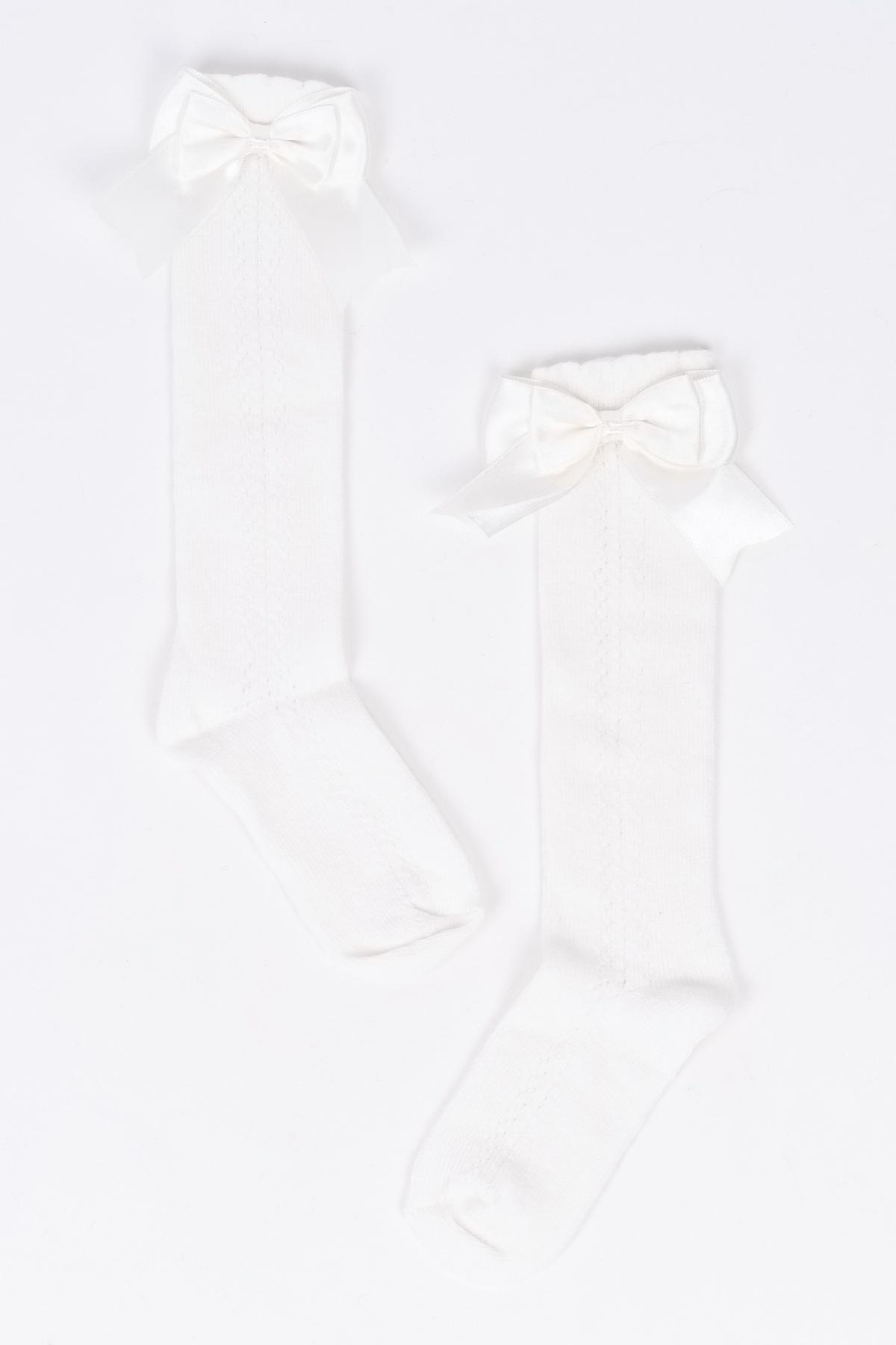 Mini Fiyonklu Krem Çocuk Çorap
