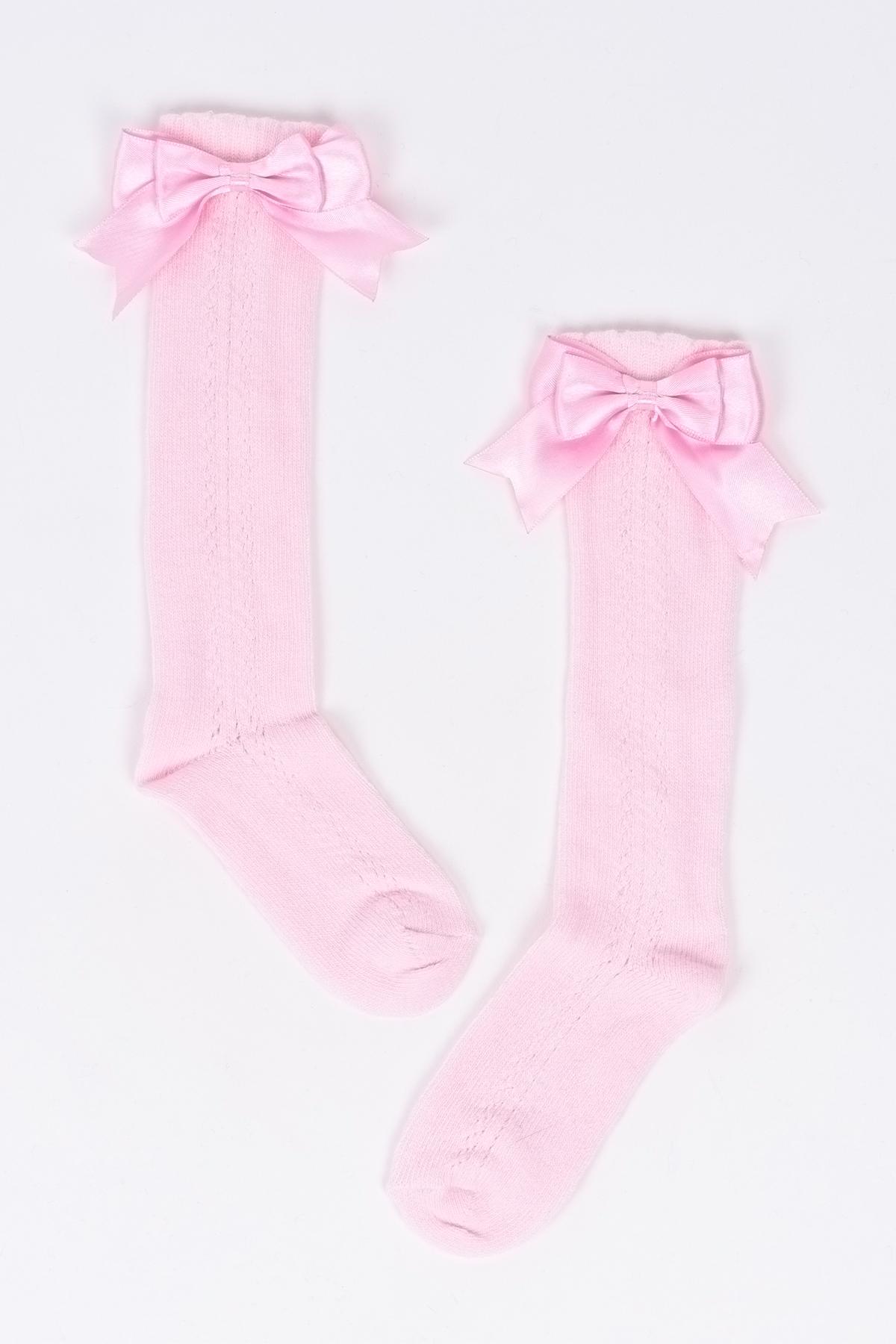 Mini Fiyonklu Pudra Çocuk Çorap