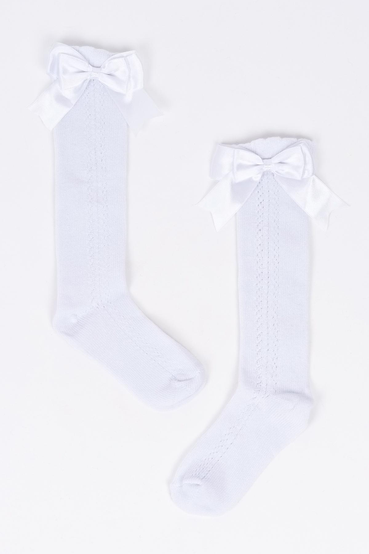 Mini Fiyonklu Beyaz Çocuk Çorap
