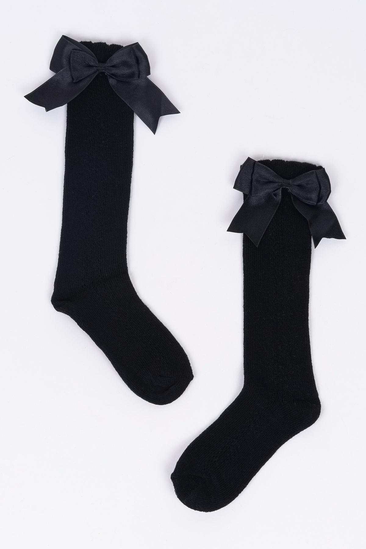 Mini Fiyonklu Siyah Çocuk Çorap