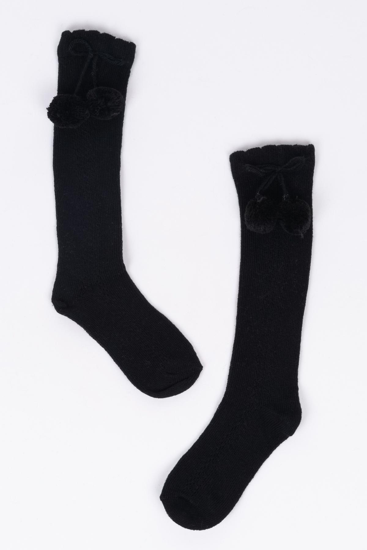 Mini Ponponlu Siyah Çocuk Çorap