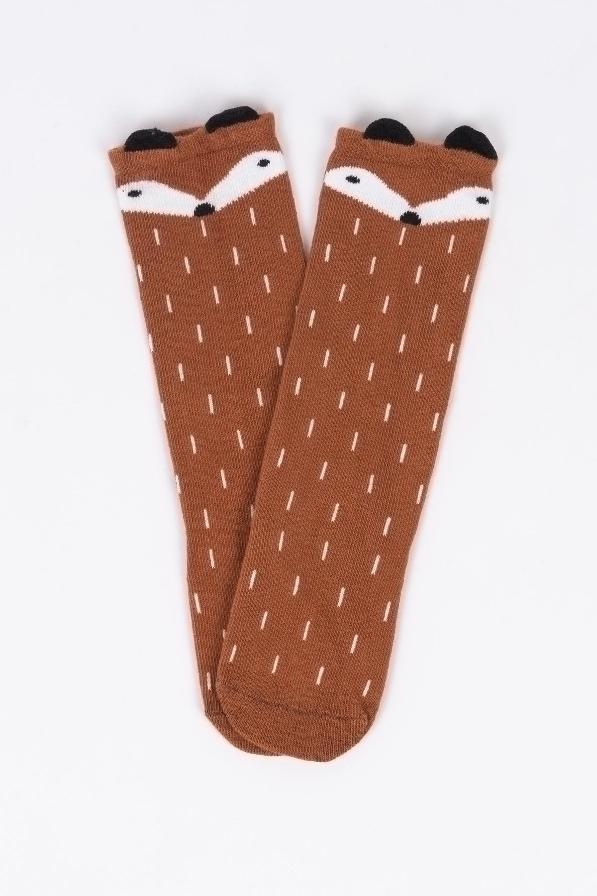 Tilki Figürlü Taba Çocuk Çorap