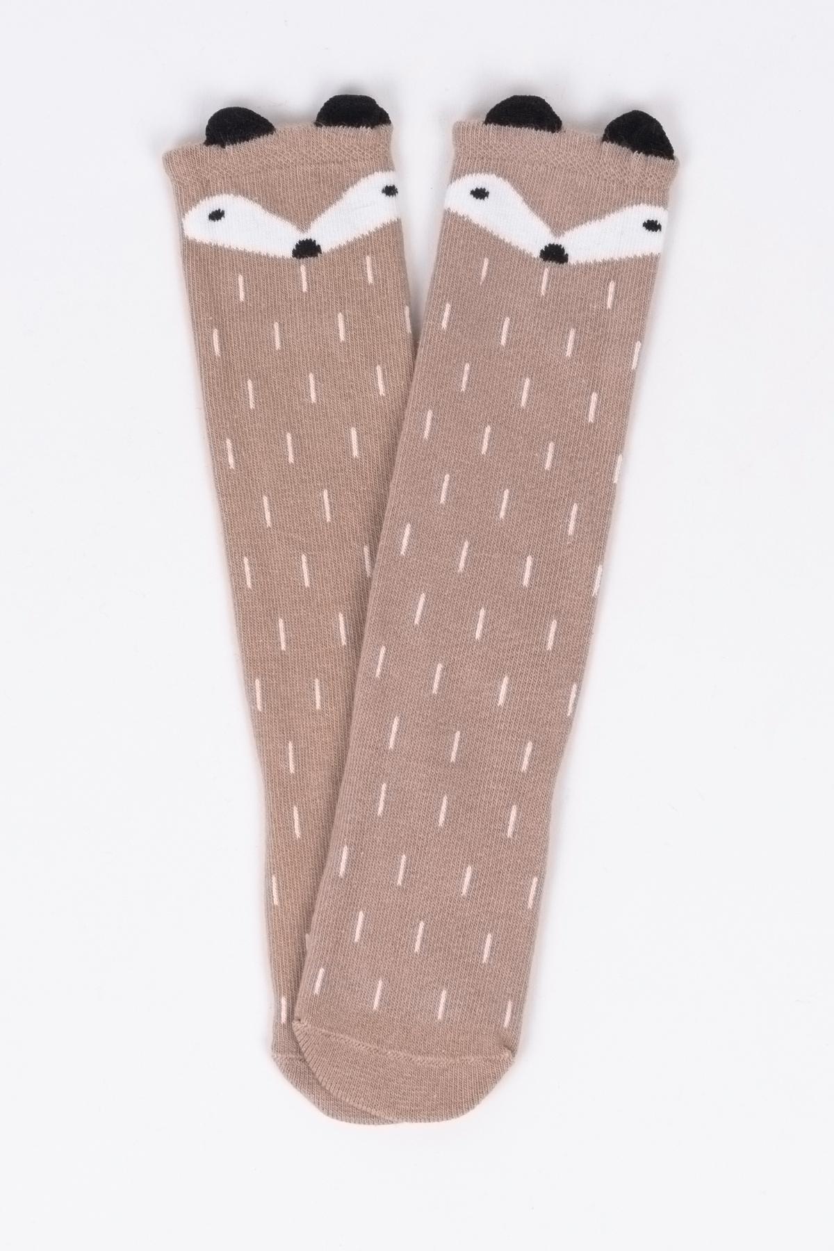 Tilki Figürlü Vizon Çocuk Çorap
