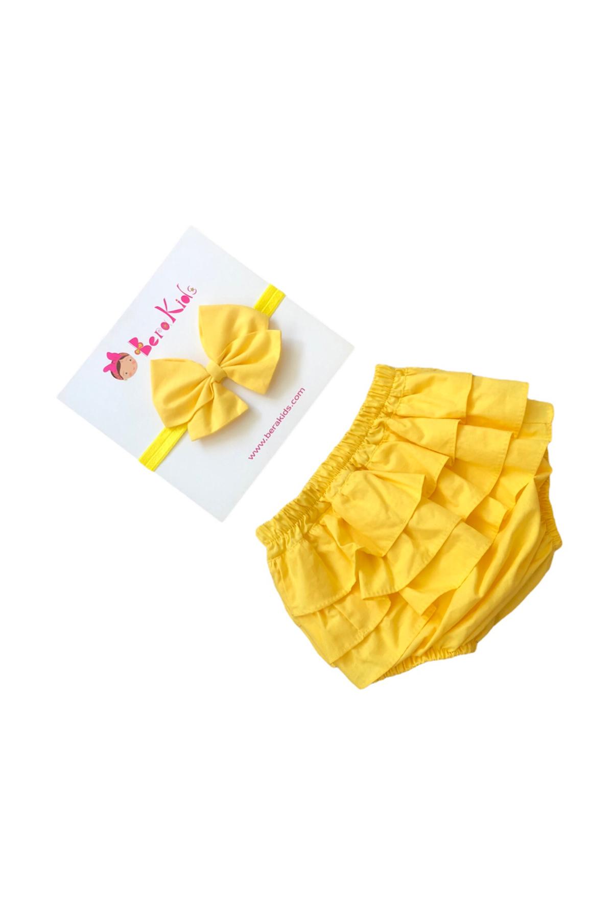 Sarı Çocuk Şort Bandana Takım